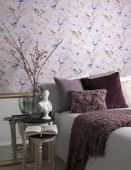 In keeping with the theme of bringing the outside in, this lilac wallpaper  by Holden