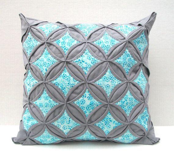 Decorative Throw Pillow Cover Aqua Batik Gray Pillow Cathedral Window 18 Inch Decorative ...
