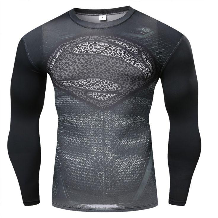 2015 Nouvelle Remise En Forme De Compression Chemise Hommes Superman Bodybuilding Manches Longues 3D T-shirt Crossfit Tops Chemises Chaude