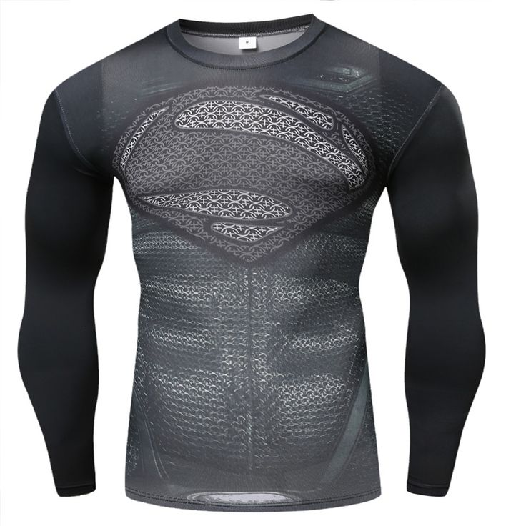 2015 New Fitness Compression Shirt Men Superman Bodybuilding Long Sleeve 3D T Shirt Crossfit Tops Shirts Hot