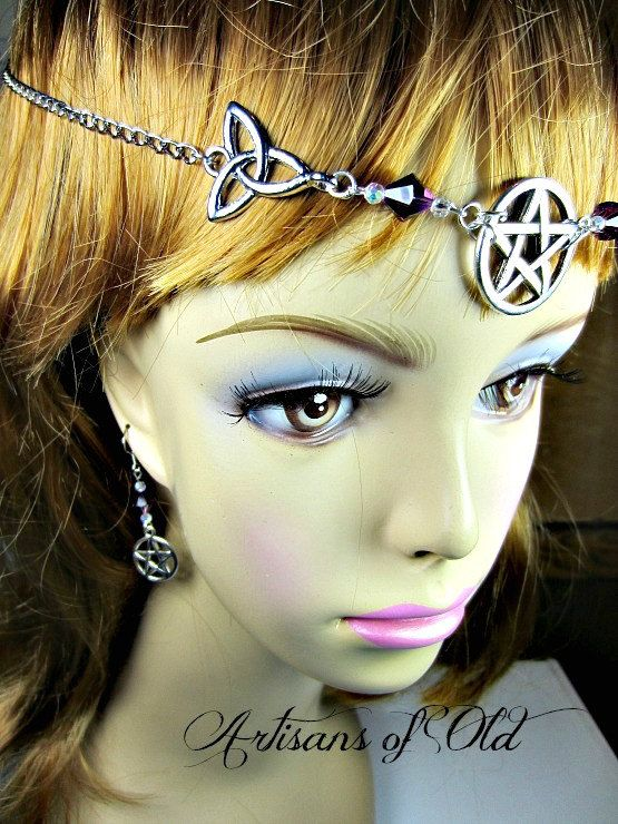 Triquetra Pentacle Circlet Set Wiccan Headdress by ArtisansofOld, $33.00