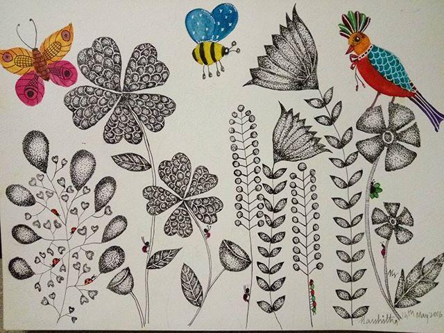 #dottedartwork #dottedart#dotdotdot #art_we_inspire #artof2016 #tatooart #birds #birdsofinstagram #bug #bee#butterflywatercolour #butterfly #meditativeart #meditative #flower #flowerslovers #flowers #artspiration #artistofinstagram #aswattasart #cansonpaper #gouachepainting #watercolorinsect #watercolours #aquarelle #winso#unipin #dreamart#pointillism