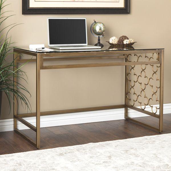 Quatrefoil Goldtone Metal And Glass Writing Desk 220 99