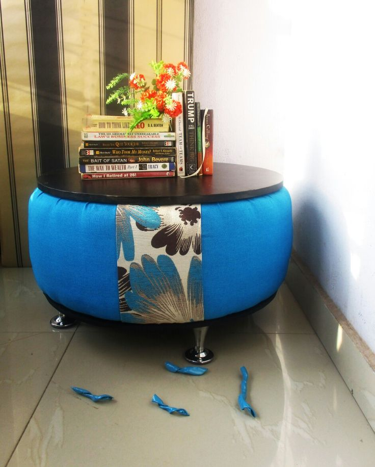 Center Table Upcycled From Discarded Tyre A Good One To Place Your Books