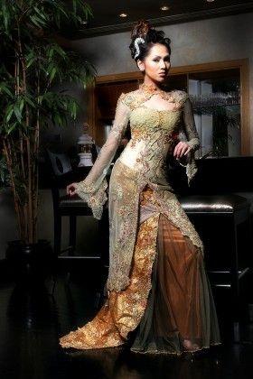 Indonesian bridal kebaya by fashion designer Djoko Sasongko, Surabaya, Java....