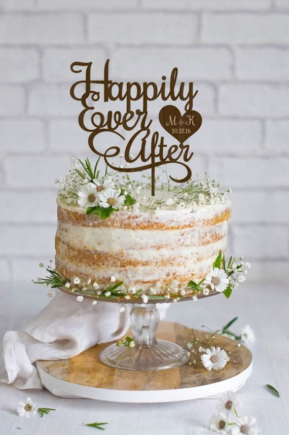 Happily Ever After Wedding Cake Topper . A lovely way to make your special cake unique. Wedding Cake Toppers made from high quality plywood. *** SIZE: 5 - 7 inches ( 15-17 cm ) You can choose the size of your cake topper (the width) in the drop down menu. If you need a different size, please convo and well be happy to make it for you.  *** COLOR: Our Cake Toppers can be made in Light Wood, Dark Wood, Golden and Silver. If you need a different color, please convo and well be happy to make it…