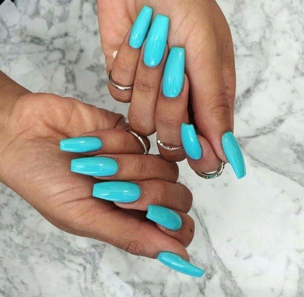 Turquoise Coffin Nails Nerdnailsdesigns Teal Nails Cute