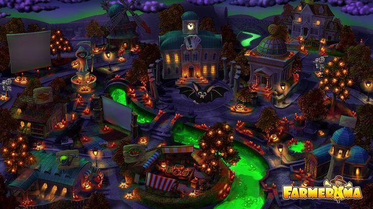 Halloween in Farmerama City. A wallpaper