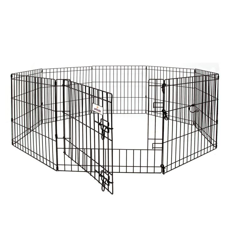 Dog exercise pen creates a safe spacePortable dog play pen folds flat for easy storage and travelFeatures unique door-in-door to provide food or water without y
