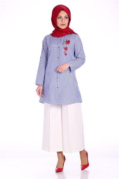 Nakışlı Çizgili Gömlek 1088 - Mavi Gömlek / Bluz Modelleri - Kirazgiyim.com