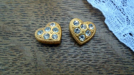Set of two vintage hearts. These were previously heart earrings but the posts were broken. Perfect for use in a craft project or vintage bridal bouquet