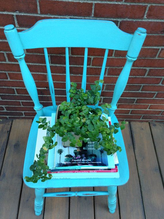 Vintage turquoise wooden chair
