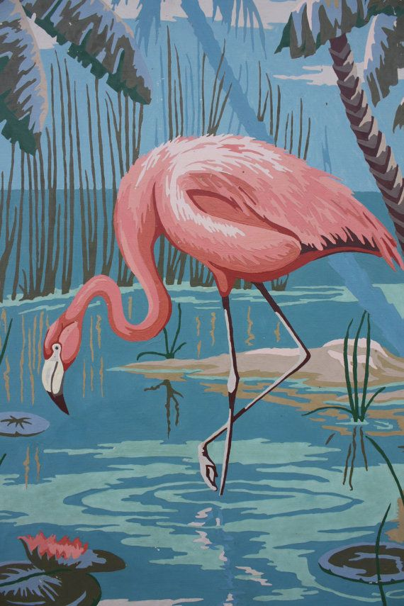 """Vintage Paint By Number Flamingo Large 22"""" x 18"""""""