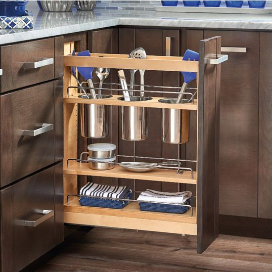 The Rev-A-Shelf 448 UT BCSC base cabinet Pullout Utensil Base Organizer is designed to help organize your kitchen utensils. The 448UT organizers your kitchen tools in a space saving vertical space, which makes it easier to find the utensil you need as well as freeing up drawer space. Find other great offers on Rev-A-Shelf, as well as free shipping on orders over $99 at KitchenSource.com
