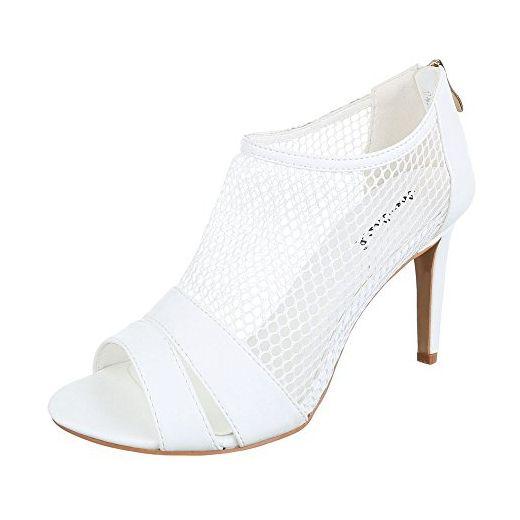 High Heel Sandaletten Damen-Schuhe Plateau Pfennig-/Stilettoabsatz High Heels Reißverschluss Ital-Design Sandalen / Sandaletten Weiß, Gr 40, 17-M51137B- - Sandalen für frauen (*Partner-Link)