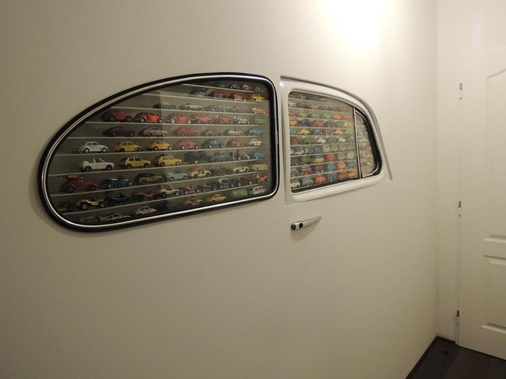 vw beetle window display wall