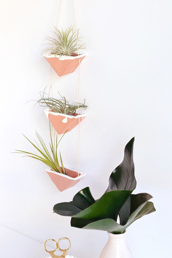 DIY clay hanging air plant holders tutorial