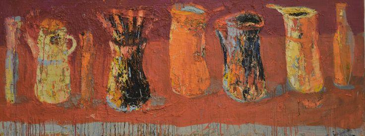 Jolanta Caban, Martwa natura z pomarnczowym rondelkiem, 60x150cm.