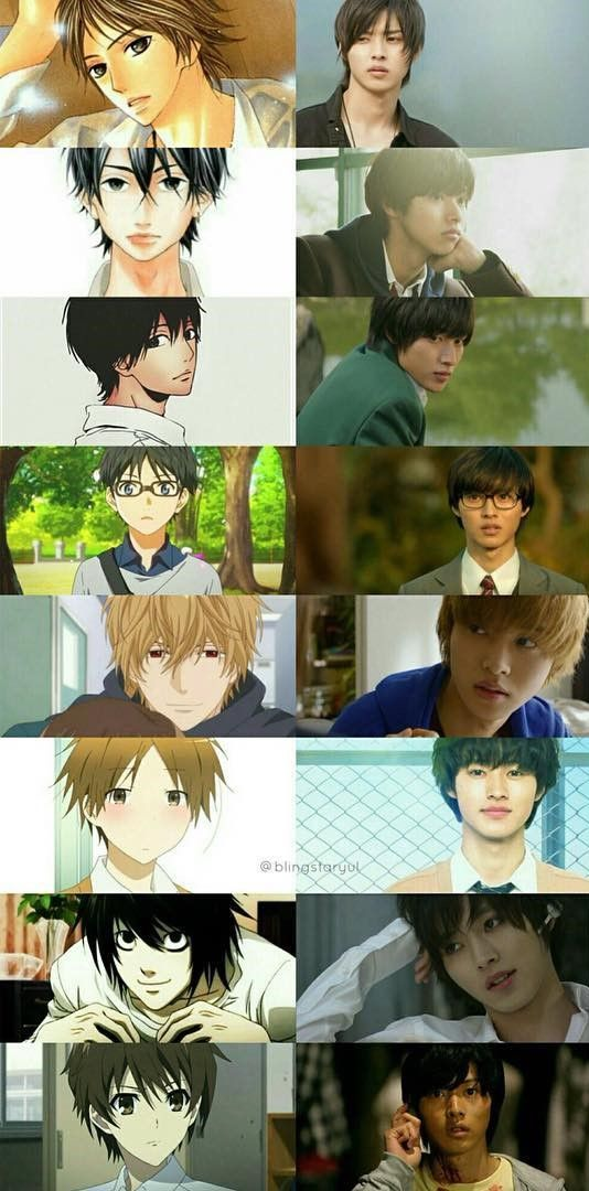 Kento Yamazaki's LA works. from top: movie L<3DK, Heroine Shikkaku, orange, Yr lie in Apr. Wolf girl & black prince, one week friends, drama Death Note 2015, movie Another