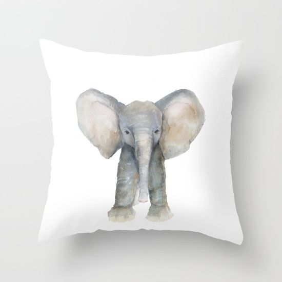 Baby Elephant watercolor painting, digitally transferred.