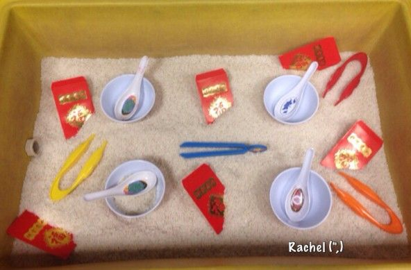Chinese New Year Sensory Tray (from Stimulating Learning with Rachel)