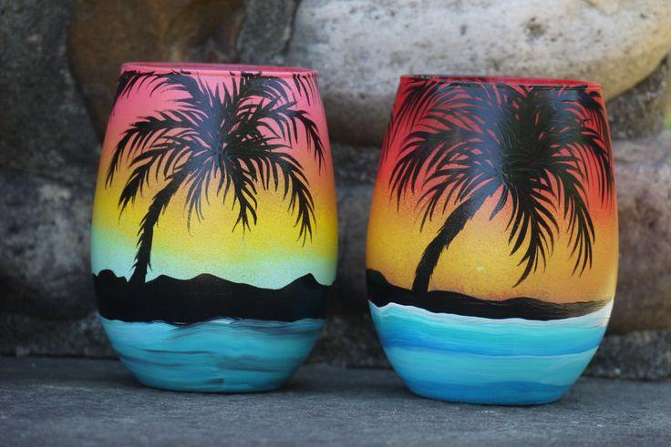 Tropical island  palm tree wine glass set, Ocean theme wine glass, sunset wine glass, honey moon wine glasses, tropical wine glass by TheMuseCreations on Etsy https://www.etsy.com/listing/458978166/tropical-island-palm-tree-wine-glass-set