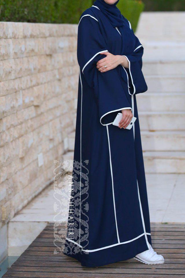Anna Hariri elegant navy blue abaya