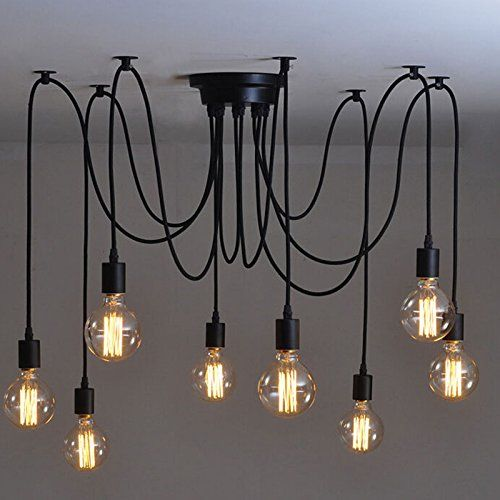 Lemonbest Vintage E27 Industrial Fixture Retro Pendant Light Ceiling Lamp Chandelier 8 Bulb Light Sockets Lemonbest®