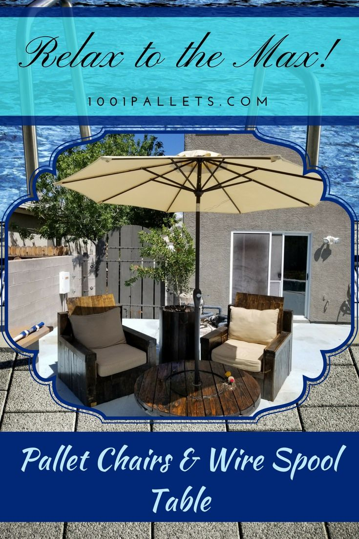If you have six pallets and a wire spool, you can make a Relaxation Station! This beautiful Pallet Patio Lounge costs less than 25 dollars, too!