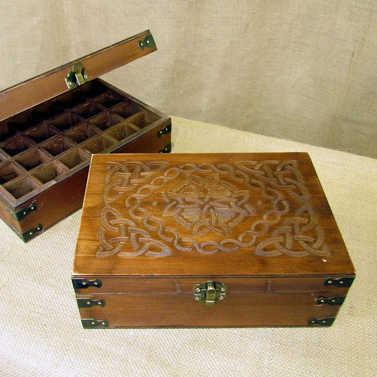 Essential Oil Storage box.  Celtic design.  Stores 24 essential oil bottles 15mL or less.