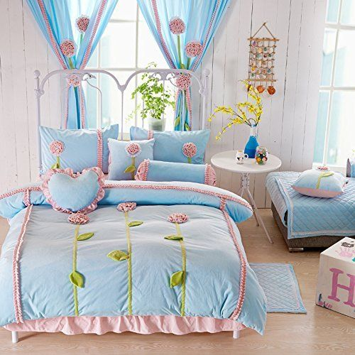 Norson Rustic Dandelion 3d Bedding Set Purple,kids Unique Flannel Ruffle Duvet Cover,princess Vintage Handmade Bed Skirt,queen Size,4pcs (Blue, Twin) //Price: $75.04 & FREE Shipping //     #hashtag4