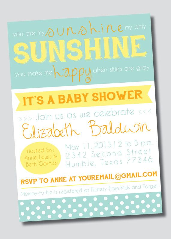 """A """"You are My Sunshine"""" baby shower would be such a cute summer shower theme and this invitation would be perfect! On sale now in my shop! Customizable You Are My Sunshine Baby Shower by SweetGreetsDesigns, $15.00"""