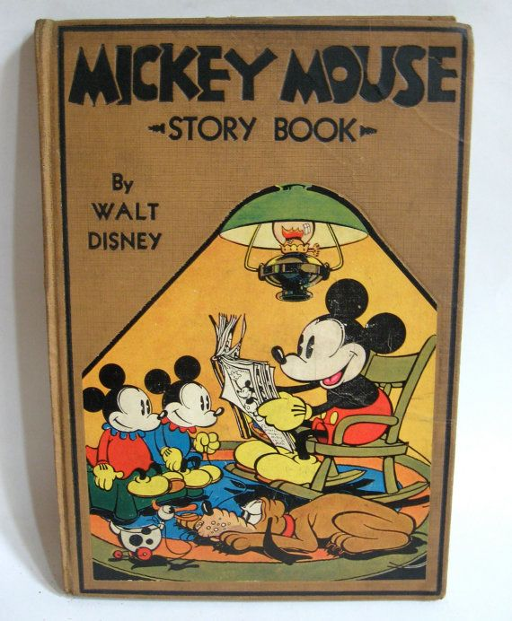 Mickey Mouse Story Book - rare 1931 Walt Disney hardcover illustrated children's book vintage antique collectible Christmas gift idea