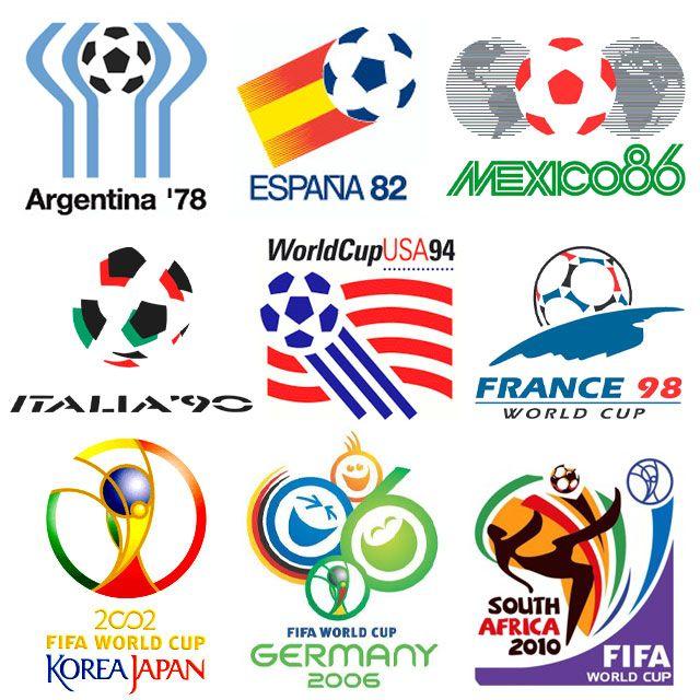Logos de los Mundiales desde 1978 hasta 2010.