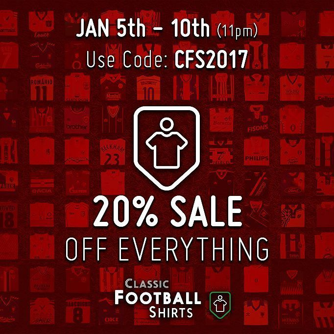 "LINK IN BIO - Shop the amazing 20% off sale at @classicfootballshirts! Use code ""CFS2017"" for discount. Tag a mate who needs some new kit! - - Sale ends 10th January at 11pm. - #footydotcom #fcfc #footballboot #soccercleats #cleats #football #soccer #futbol #cleatstagram #totalsoccerofficial #fussball #bestoffootball #rldesignz #vamesuhype #footballshirts #classicfootball #classicfootballshirts #retro #retrofootball #vintagefootball #90sfootball #england #footballshirt #competition…"