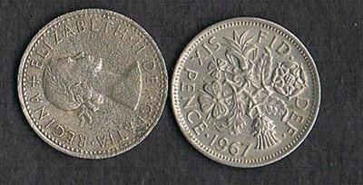 1967 UK United Kingdom sixpence 6 pence six pence wedding bridal lucky coin on eBay!  This will be, six pence in my shoe...found one from 1900