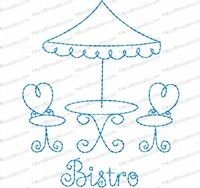 Bistro Embroidery Design by Kris Rhoades Digitizing - The Applique Circle. Have.  Free with membership