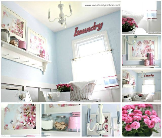 Blue & Pink Laundry Room