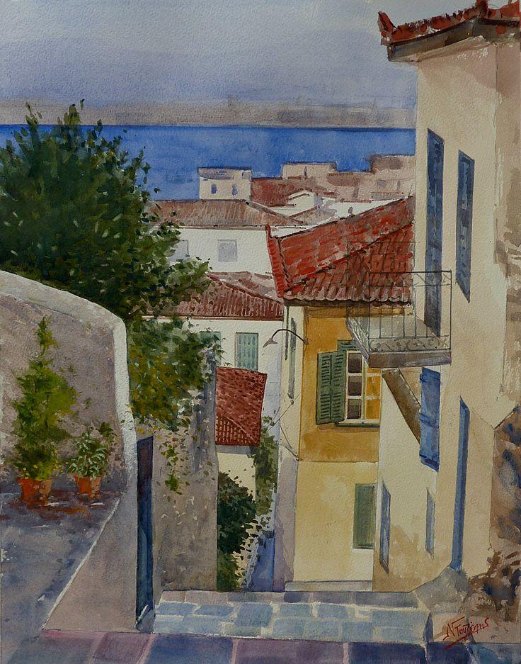 ''Nafplion Greece'' 40x50 cm watercolor by Babis Douzepis