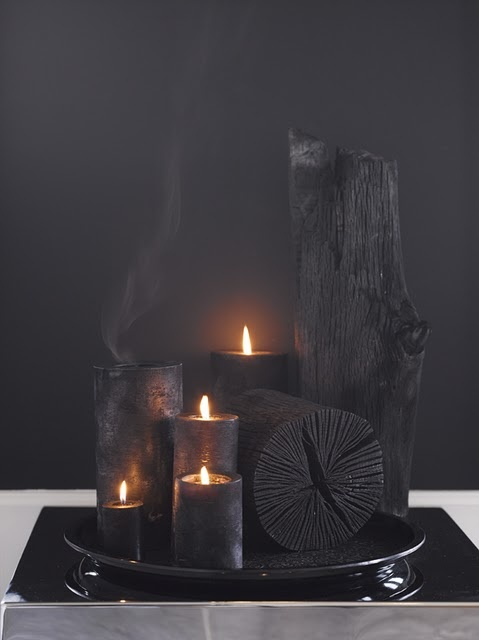 Charcoal on charcoal - the natural air freshener is on the right (no candle) and can be purchased here: http://www.sortofcoal.com/b2c_int/air/hakutan-installation.html - Now WHERE can I buy those awesome candles??