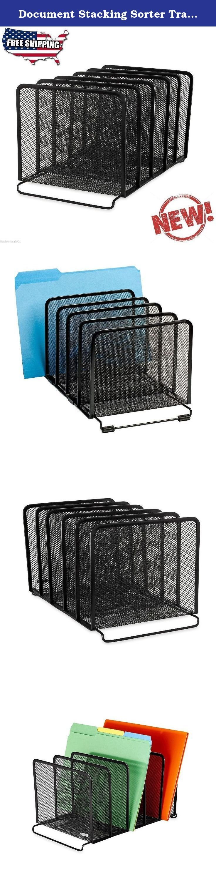 Document Stacking Sorter Tray Desktop Organizer Office Desk File Folder Holder. Features:This tray sorter has 5 sections to help keep your desktop organized and clutter-free.Mesh collection desk accessories have a simple and elegant industrial look and sturdy metal construction.Desktop organizer's vertical vanes hold notepads books binders folder and other items.Stacks on top of Stacking Side-Load Letter Tray (62563).8.25 inches long by 14.375 inches wide by 7.75 inches high.Product...