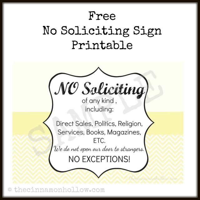 It's just an image of Vibrant Free Printable No Soliciting Sign