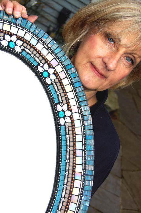 Mosaic mirror frame round