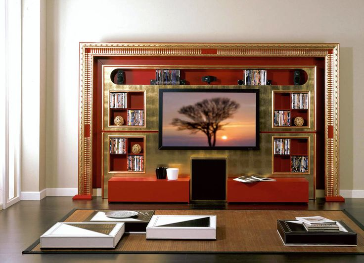 Tv Stand Tv Rack Tv Wall Unit In Red And Gold Art Deco