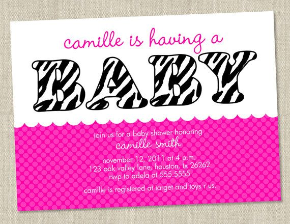 Zebra Pink Baby Shower Invitations - baby girl Invites - animal print baby shower (DIY Printable Digital File OR Printed Cards). $14.00, via Etsy.