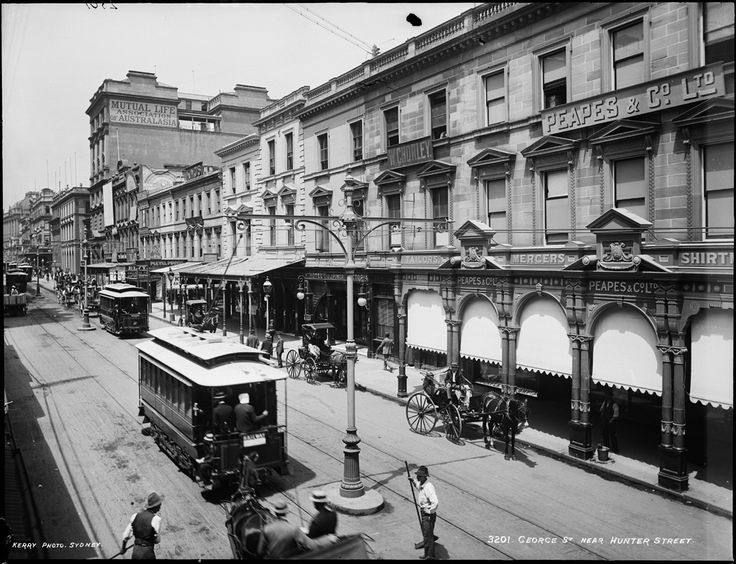 Early model electrified trams on George Street near Hunter Street