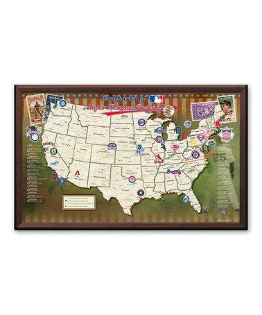 Look at this #zulilyfind! MLB Ballparks Travel Framed Map #zulilyfinds