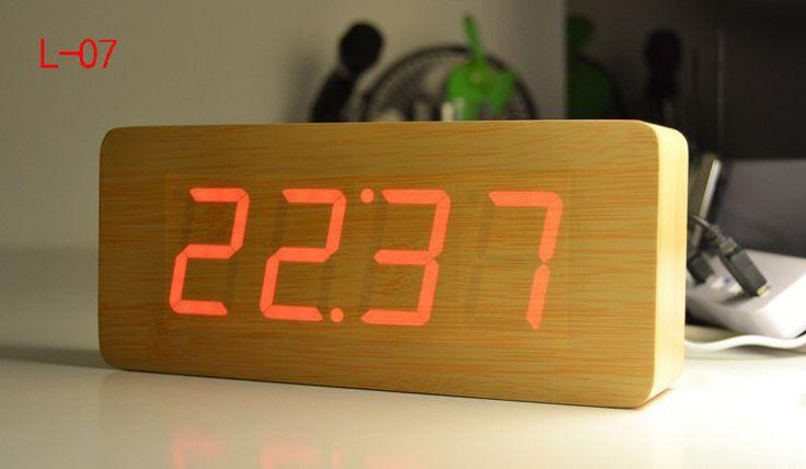 2015 new modern calendar alarm clocks thermometer wooden clocks led clock. Black Bedroom Furniture Sets. Home Design Ideas