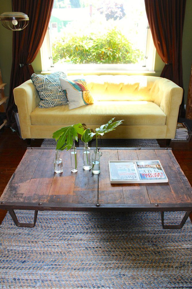 Chester Tufted Sofa + Recycled Denim Rug from west elm - Teressa and Ryan's Fresh & Friendly Home House Tour | @Gilda Locicero Therapy