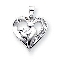 14k White Gold Mother and Baby Diamond Heart Pendant - JewelryWeb JewelryWeb. $485.90. Save 50% Off!